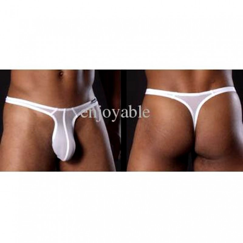 Sexy White Low-rise Microfiber Men Thong MLGST-015